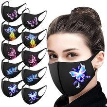 10 pçs unissex máscaras de boca para homens mulher capa de rosto borboleta impressão boca-muffle lavável reutilizável orelha loops máscara mascarilla