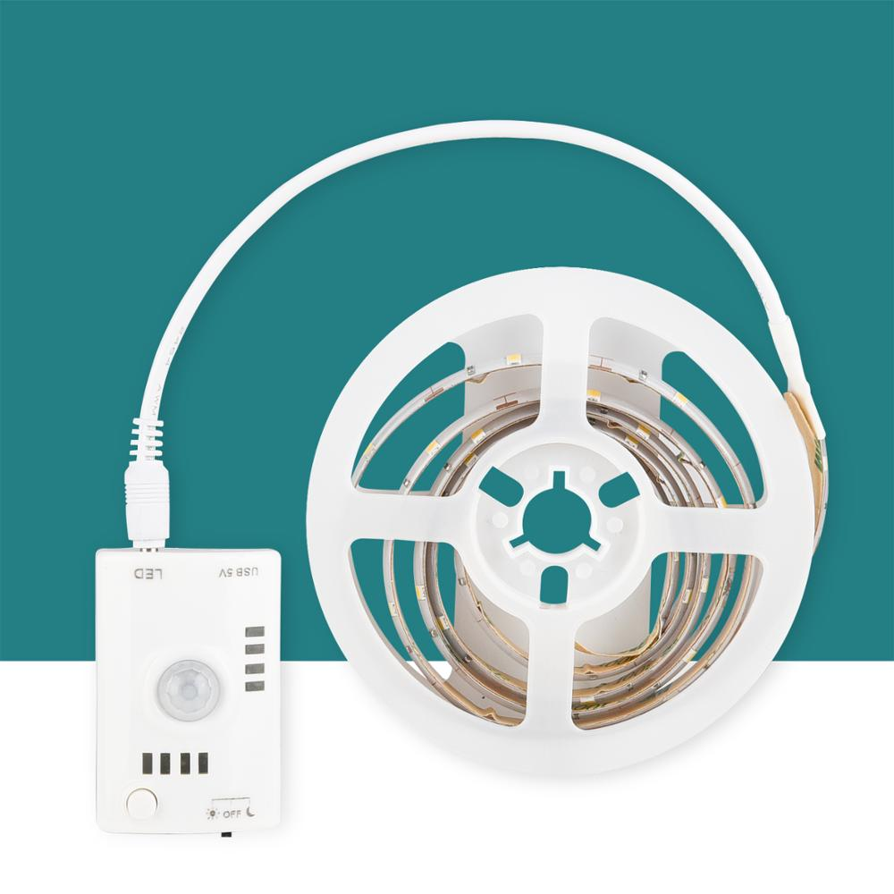 DC 5v LED Strip Motion Sensor Light Auto ON/OFF Flexible LED Tape 1M 2M 3M 4M 5M SMD2835 Bed Light With Usb Charging 1000ma,