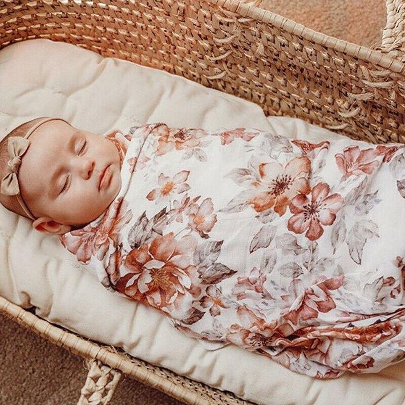 Newborn Baby Cute Fashion Girl Floral Swaddle Wrap Blanket Muslin Sleeping Bag+Headband Outfits  Towel + Headband 2Pcs Set