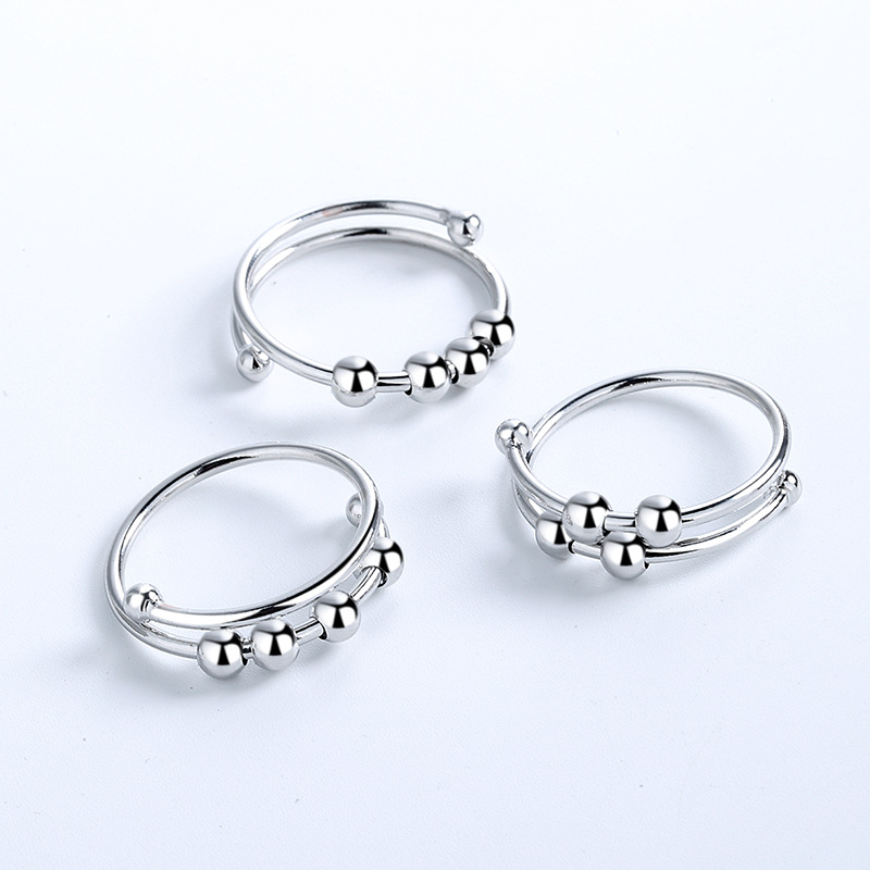 2021 fidget beads rings for women men Rotate Freely Anti Stress Anxiety Ring Single Coil Antistress Spiral Beads Rotate jewlery 1