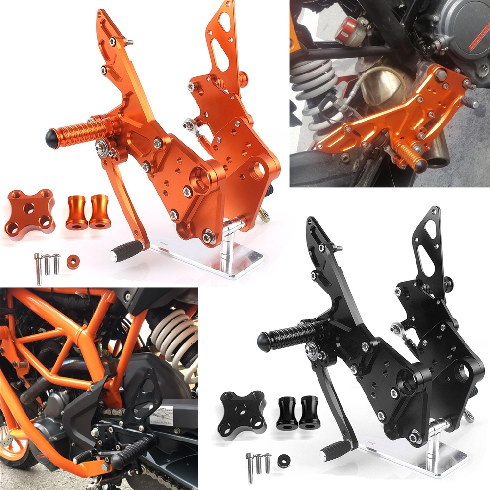 Motorcycle Rear Passenger Footrest Foot Pedal Rider Foot Pegs & Bracket For KTM Duke 125 200 390 2011 2012 2013 2014 2015 2016 image