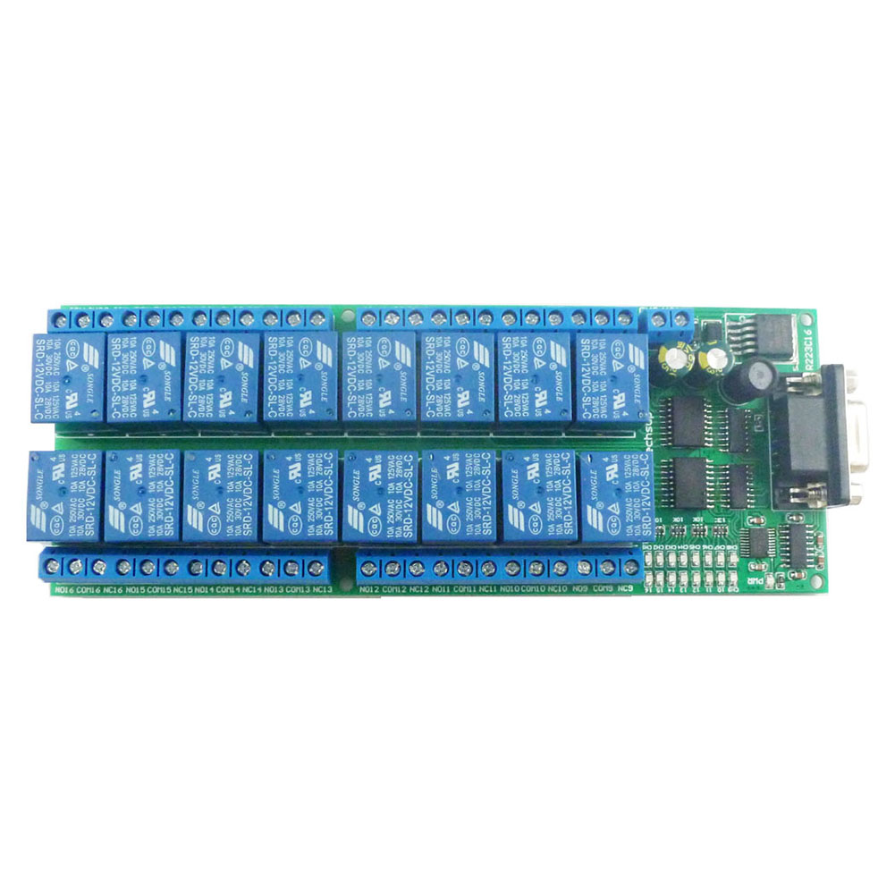 Taidacent 16 Channel Relay Board RS232 Relay Module DB9 Female Interface Serial Remote Control Switch R223C16 12Volt Delay Relay