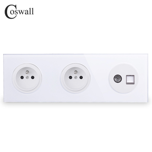 Image 1 - Coswall Crystal Glass Panel Double French Standard Wall Socket  + Female TV Connector With CAT5E RJ45 Computer Jack R11 Series