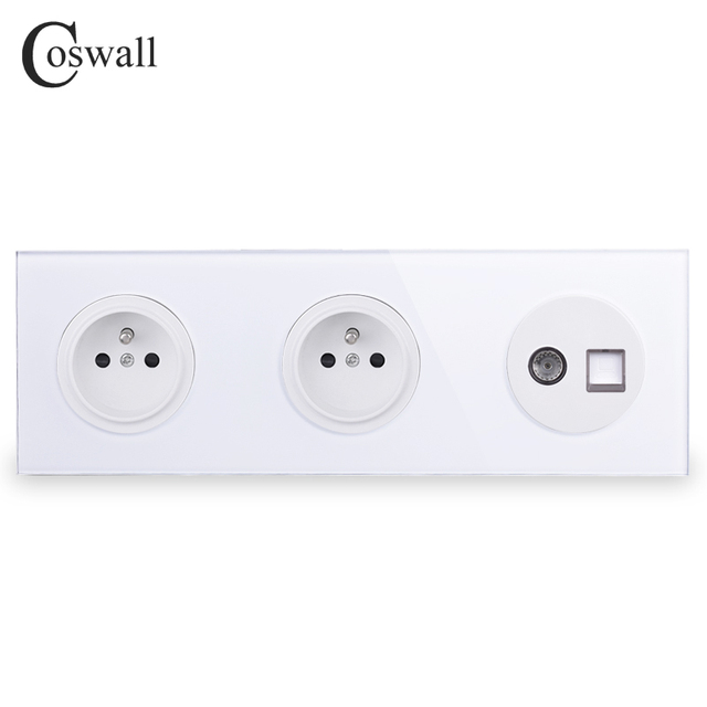 Coswall Crystal Glass Panel Double French Standard Wall Socket  + Female TV Connector With CAT5E RJ45 Computer Jack R11 Series