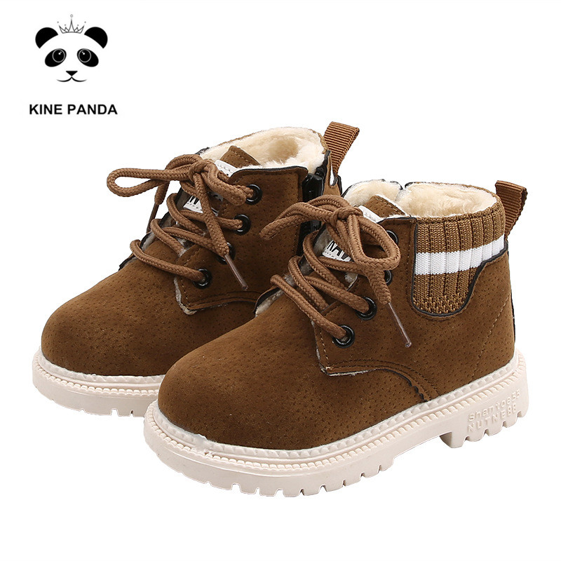 KINE PANDA Children's Boots Girls Boys Kids Shoes Thick Plush Warm Fall Winter Toddler Baby Boots 1 2 3 4 5 Years Old Anti-slide