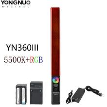 Yongnuo luz de vídeo yn360 iii yn360iii, luz de led portátil, 5500k rgb, temperatura de cor para estúdio, fotografia ao ar livre e gravação de vídeo