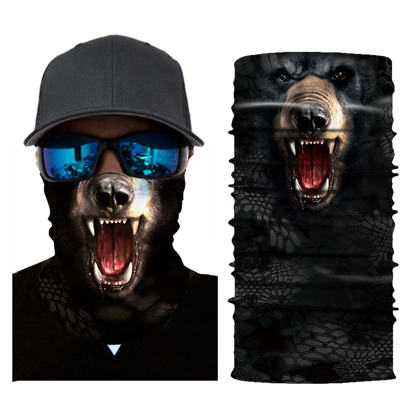 Magic Turban Animal Bear Men And Women Hand Strap Windproof Full Face Mask Neck Sleeve Multi-function Outdoor Scarf