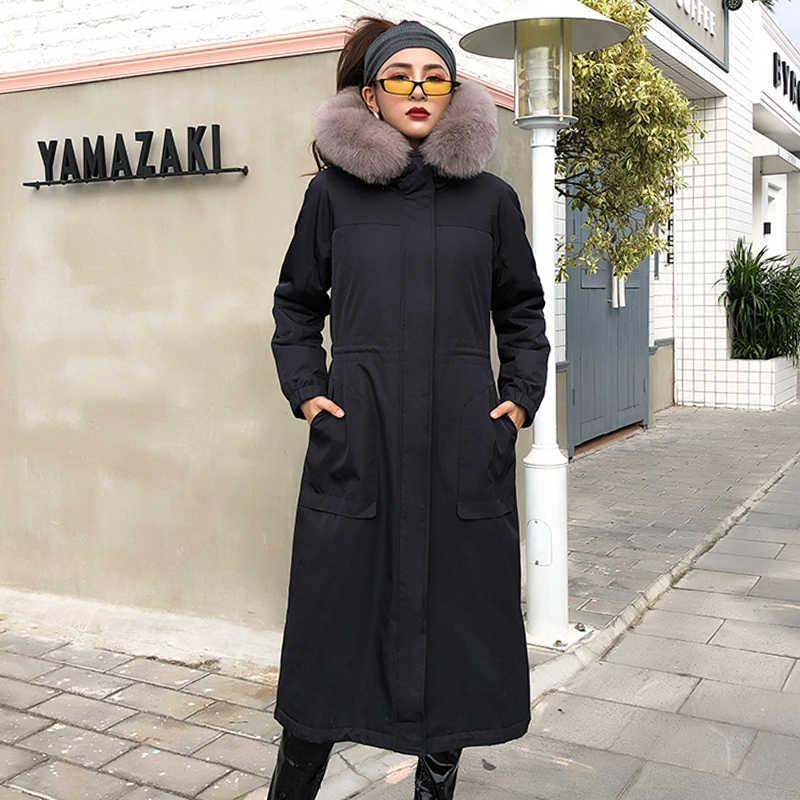 Echt Pelzmantel Frauen Rex Kaninchen Pelzmantel Frauen Echtpelz Parka Lange Jacke Winter Mantel Frauen Manteau Femme QX18-1801 YY848