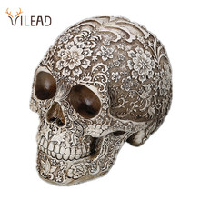 VILEAD 20cm Carved Skull Resin Craft White Skull Head Halloween Party Decor Skull Sculpture Ornament Home Decoration Research