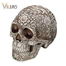 VILEAD Sculpture de crâne sculpté en résine, 20cm, tête blanche, décoration de fête dhalloween, décoration pour la maison, crâne