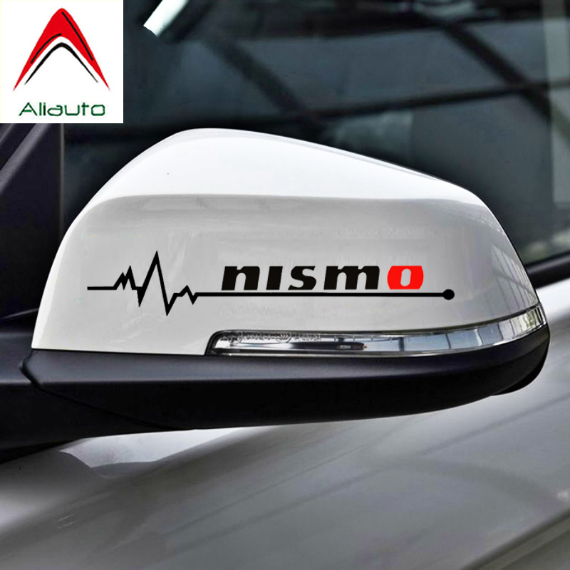 NISSAN x2 chrome metallised vinyl stickers for car body glass mirror sticker