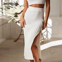 Jeninstar Ribbed Buttons Split Sexy Skirts Womens Autumn Fashion High Waist Women Skirt 2019 Casual Loose Clubwear Pencil Skirt