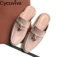 Chic Metal Lock Decor Women Slippers Kid Suede Toe Covering High Top Casual Shoes Woman Runway Slides Gladiator Flat Slippers