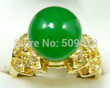 free shipping Green Jade 18KGP Crystal Butterfly Ring Size: 6.7.8.9(China)