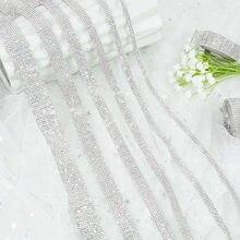 Ruban de strass auto-adhésif 1 Yard, ruban plat en cristal, pour vêtements, chaussures, sac, accessoires de bricolage, Motif strass