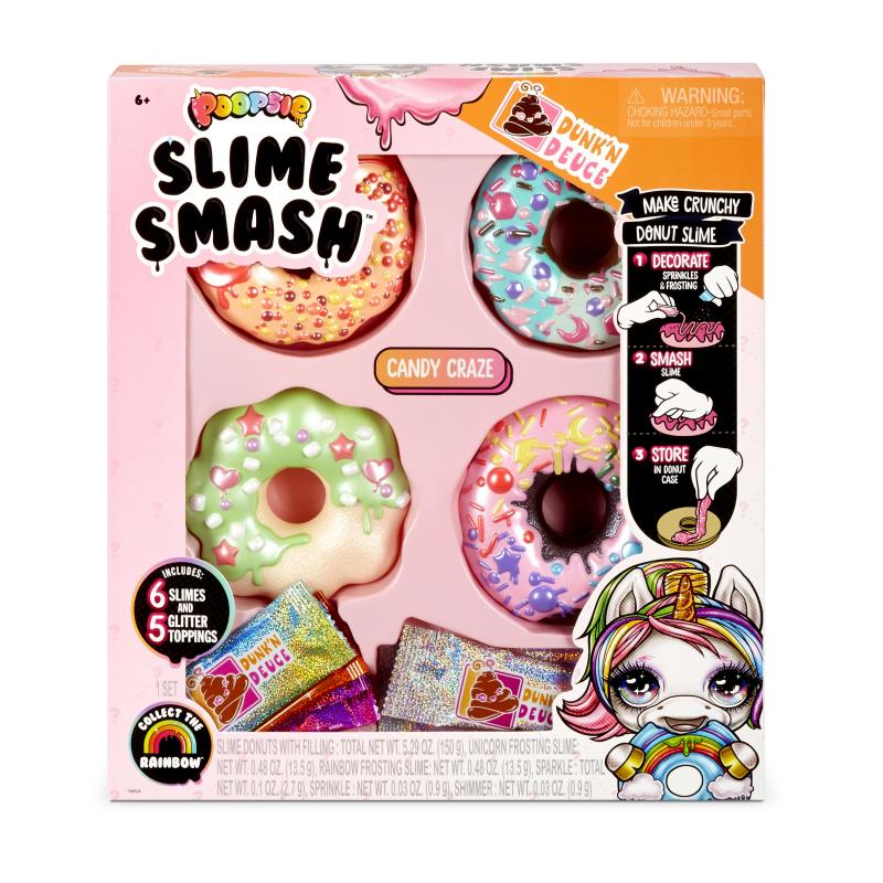 Poopsie Slime Smash Candy Craze with Crunchy Glitter Slime 4 Donut Shaped Storage Cases 6 Oz of Slime Fidget Toys Birthday Gift