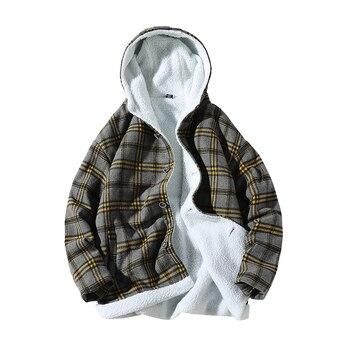 Winter Lamb Hair Jacket Men Warm Thick Parka Men Fashion Casual Lattice Hooded Coat Men Wild Cotton Jacket Male Large Size M-5XL