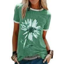 Nouvelle Mode Femmes Vêtements Décontractés À Manches Courtes D'été Surdimensionné T-Shirts Col Rond Uni Fleur Imprimé Femmes Polos