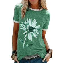 Women Casual t Shirt Clothes Short Sleeve Tops Summer Oversized T-Shirts Round Neck Solid Flower Printed Female Polo Shirts