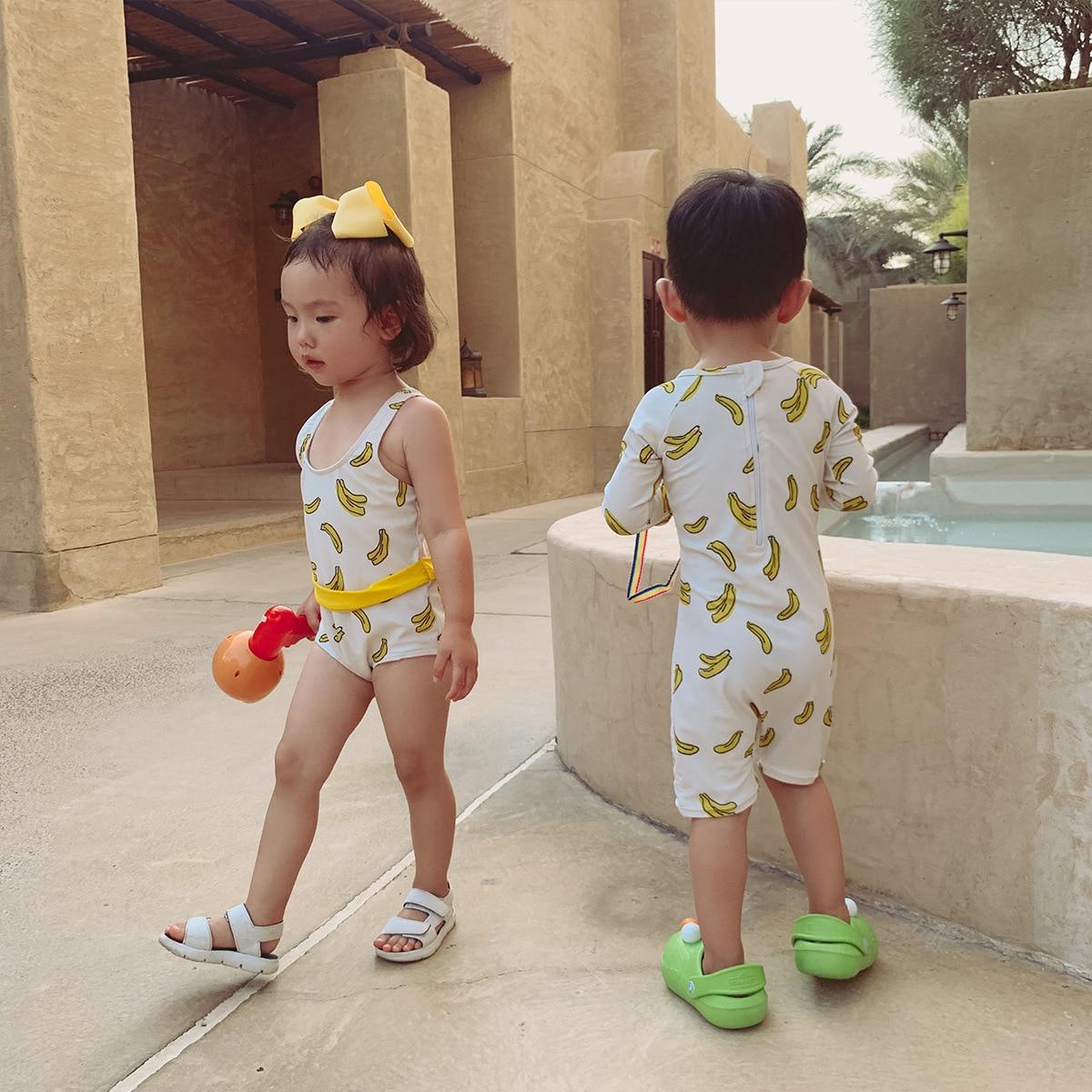 Kids Swimwear Sets New Summer Brand Design Girls Boys Cute Banana Print Swimsuits Baby Toddler Beach Holiday Bikini Clothing