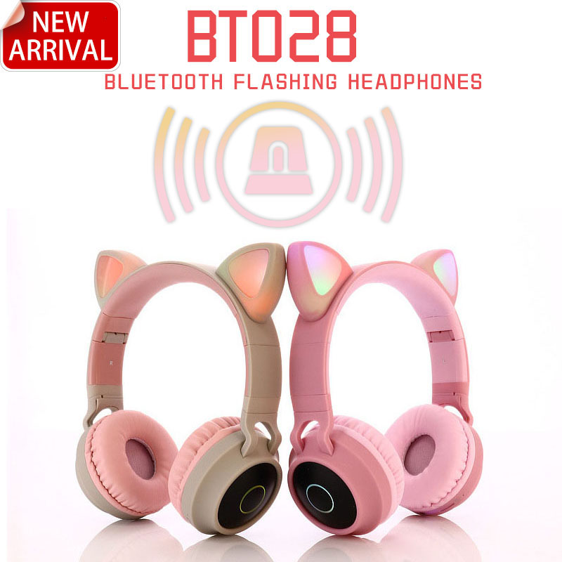 Cat LED Bluetooth Wireless Headphones Earphone Cat Ear Headphone Gaming Headset Earphones For Computer Mobile Phone Girl Gift