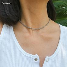 цена на Salircon Fashion 2019 Simple Choker Necklace Gold Sliver Alloy Delicate Chain Necklace Handmade Exquisite Accessories Women