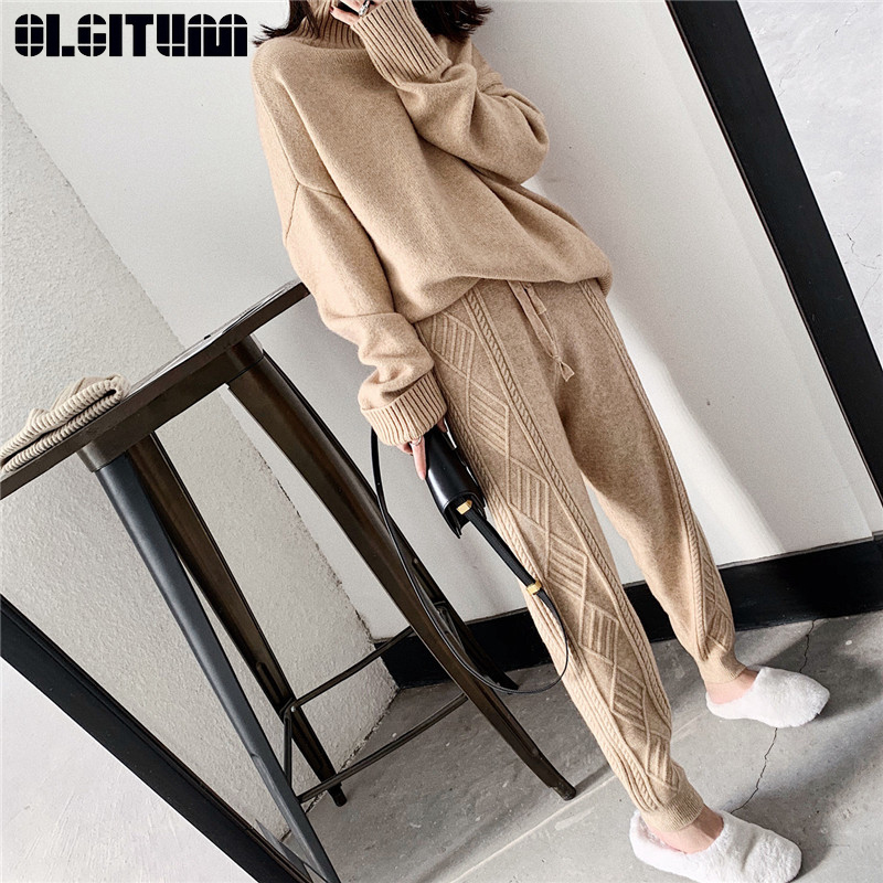 New Fashion 2020 Women Winter Knitted Harem Pants Thick Loose Drawstring Elastic High Waist Thin Wool Pants Women