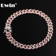UWINผู้ชายผู้หญิงสร้อยข้อมือ 9 มม.Iced OUT Rose Gold Silver Cuban Linkสีขาวสีชมพูและสีชมพูสร้อยข้อมือเครื่องประดับ