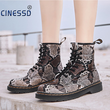 New Casual Womens Cow Leather Snake Ankle Boots Flat Booties Woman Handmade Martin Autumn Ladies High Top Platform Shoes