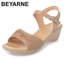 Beyarne 2018 新オープントゥセクシーな夏の女性のサンダル本革の靴のサンダルプラスサイズ快適なフラットウェッジサンダル