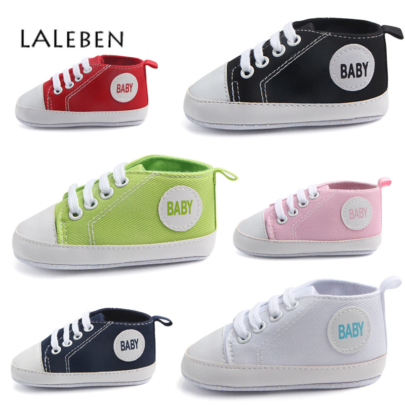 Laleben 2019 Spring Autumn Unisex Baby Soft Shoes Solid Canvas Slip-on Toddler Firstwalkers Rubber Baby Boy Casual Shoes