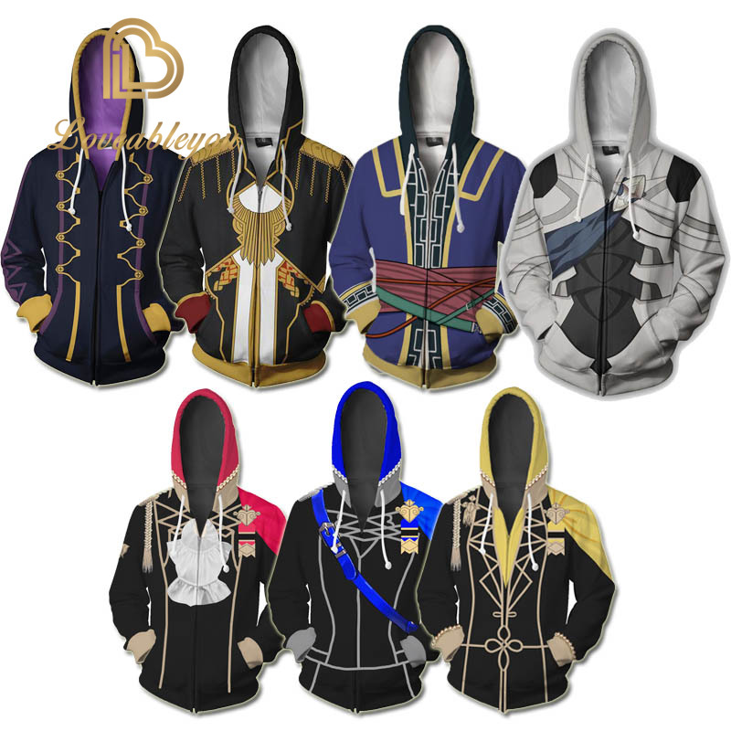 Game Fire Emblem Robin Cosplay Hoodies 3D Printed Sweatshirt Zipper Coat Jacket