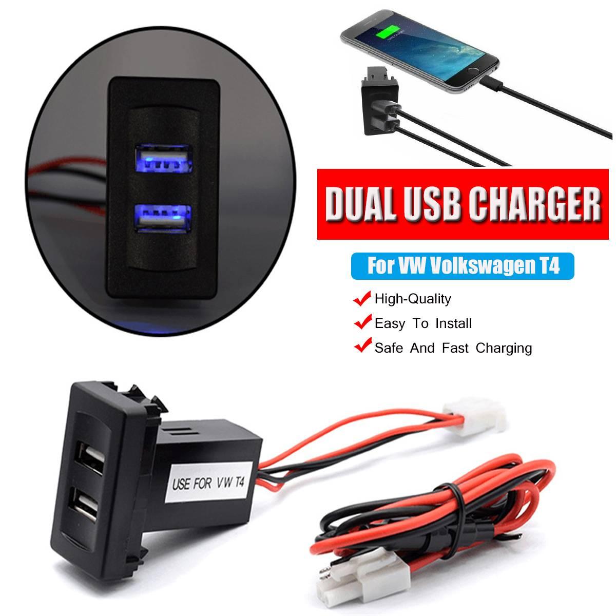 New Dual USB Car Charger 12V~24V To 5V/2.1A 2-Port USB Vehicle Car Power Inverter Converter For VW For Volkswagen T4 Models