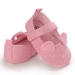 1 زوج طفلة أحذية الكرتون ماوس الأذن تصميم الأميرة الطفل أحذية الأولى مشوا الوليد الأخفاف للبنات