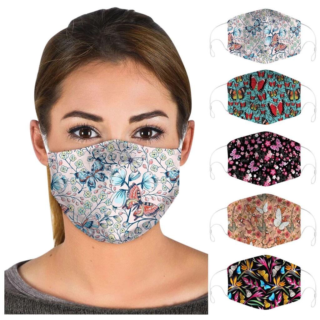 5 шт взрослые красочные бабочки защитная маска для лица против смога безвредная для кожи моющаяся маска для ушей многоразовое Велосипедное оборудование