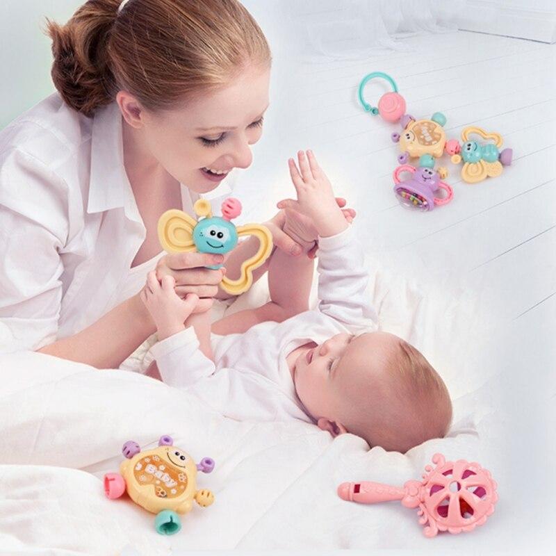 Newborn 6Pcs Baby Toys Cartoon Animal Hand Jingle Shaking Bell Lovely Hand Shake Ring Rattles Teether