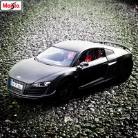 Maisto 1:18 Audi R8 black car series manufacturer authorized simulation alloy car model crafts decoration collection toy tools