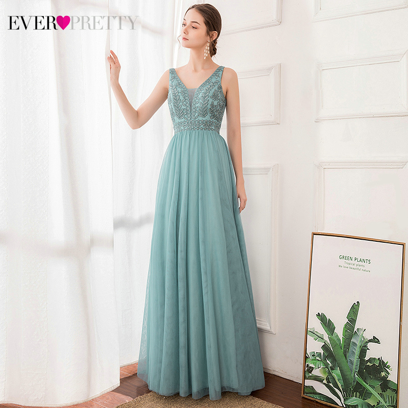 Elegant Beaded Prom Dresses Ever Pretty EP00888DB A-Line Embroidery Double V-Neck Sleeveless Tulle Party Dresses Vestidos Longos