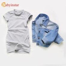 Babyinstar dżinsowa kurtka dla dziewczyn i płaszcze dla dzieci znosić kurtka dziecięca ubranka dla dzieci dziewczyny Fashion Style jeansowa kurtka dziewczyny płaszcze
