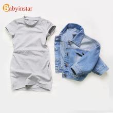 Babyinstar בנות ג ינס מעיל & מעילי ילדים להאריך ימים יותר ילדים מעיל תינוק בגדי בנות אופנה סגנון ג ינס מעיל בנות מעילי