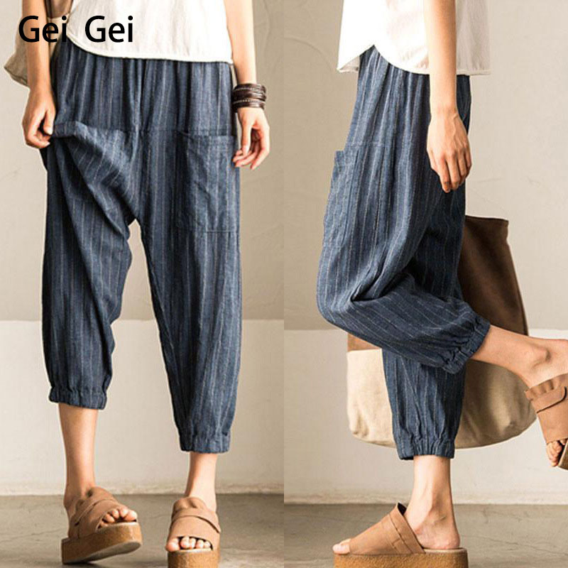 Harem Pant Women Hemp Bloomer Plus Size S-5XL Loose Women New Trouser Cotton Linen Pleated Oversize Pockets Wide Leg Pant