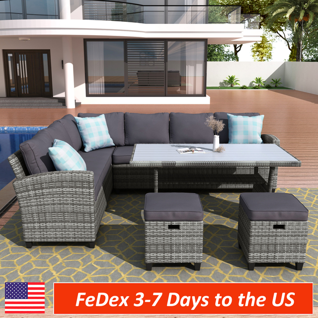 5 Pieces Outdoor Furniture Rattan Chair & Table Patio Set  1