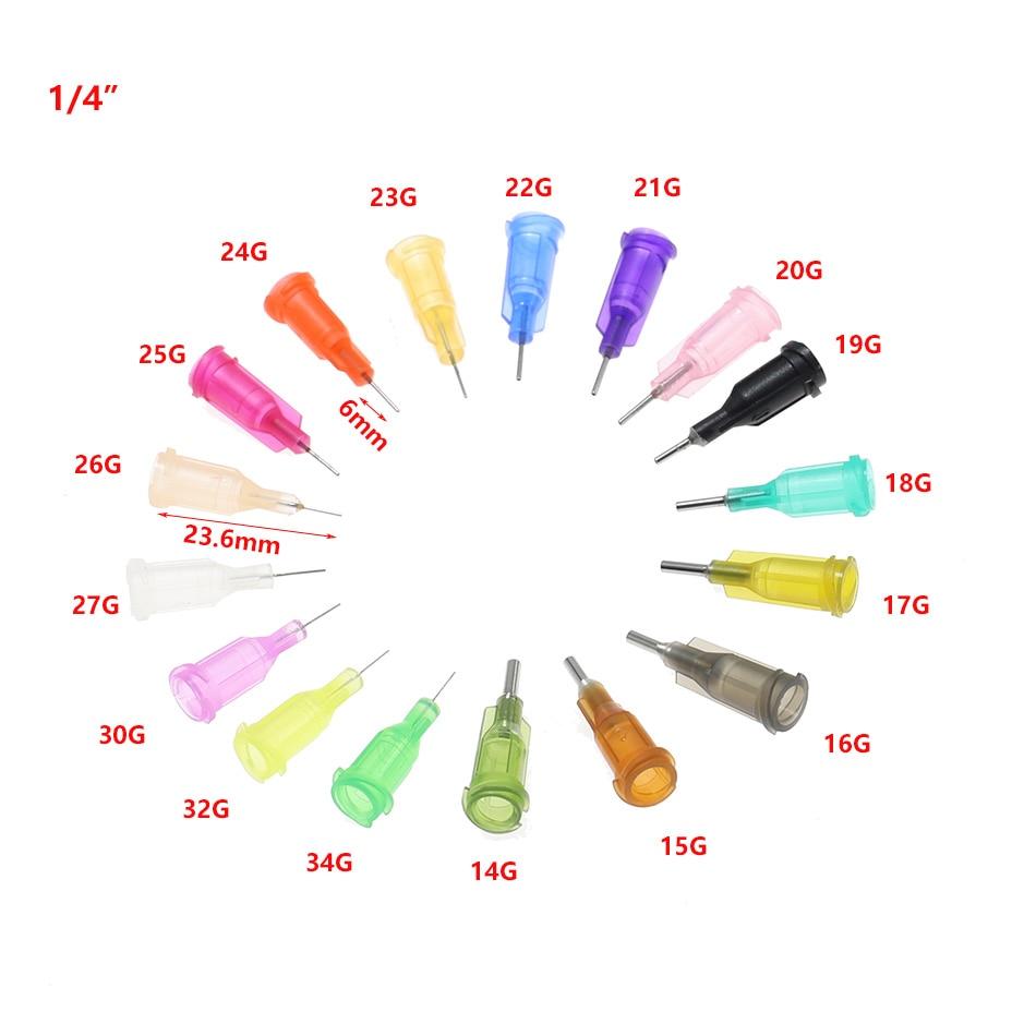 25pcs 1/4 Luer Lock Blunt Tip Screw Needle Precision Tips Liquid Dispenser 4-34G Syringe Needles  Gauge Tips Glue Dispensing
