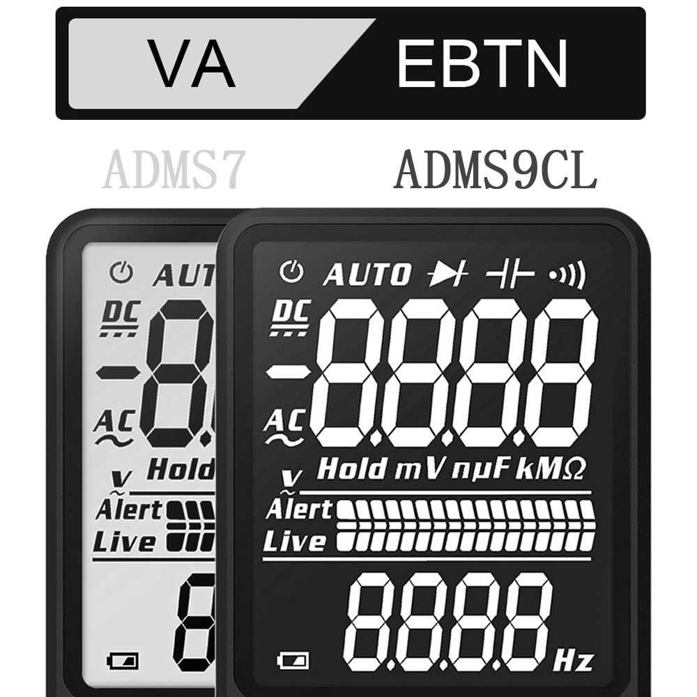 مقياس رقمي متعدد محمول فائق BSIDE ADMS7 S9CL شاشة LCD كبيرة مقاس 3.5 بوصة 3 خطوط الفولتميتر DMM التيار المتناوب تيار مستمر الجهد NCV أوم هرتز فاحص