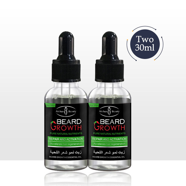 Natural Accelerate Beard Growth Oil Anti Hair Loss Men Beard Growth  Beard Grow Stimulator Facial Hair Grower 2pcs Moustache 1