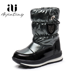 Image 3 - Russia childrens winter boots ankle kids snow boots girls winter shoes Fashion wool boys waterproof boots