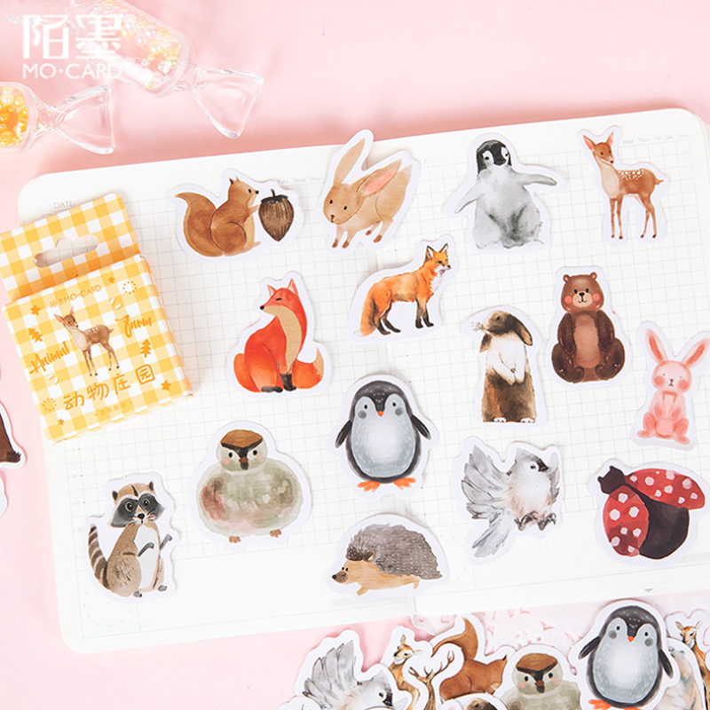 46pcs/pack Kawaii Animal Farm Box Sticker Notebook Diary Phone Case DIY Decorative Sticker