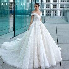 Ethel rolyn querida sexy rendas vestidos de casamento fora do ombro princesa frisado flores vestido de noiva romântico vestidos de noiva