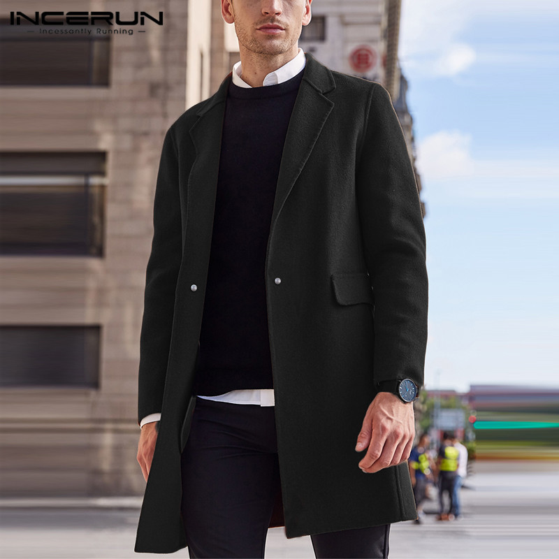 INCERUN 2020 Winter Men Coats Streetwear Solid Faux Wool Blends Overcoats Long Sleeve Fashion Jackets Chic Lapel Men Trench 5XL