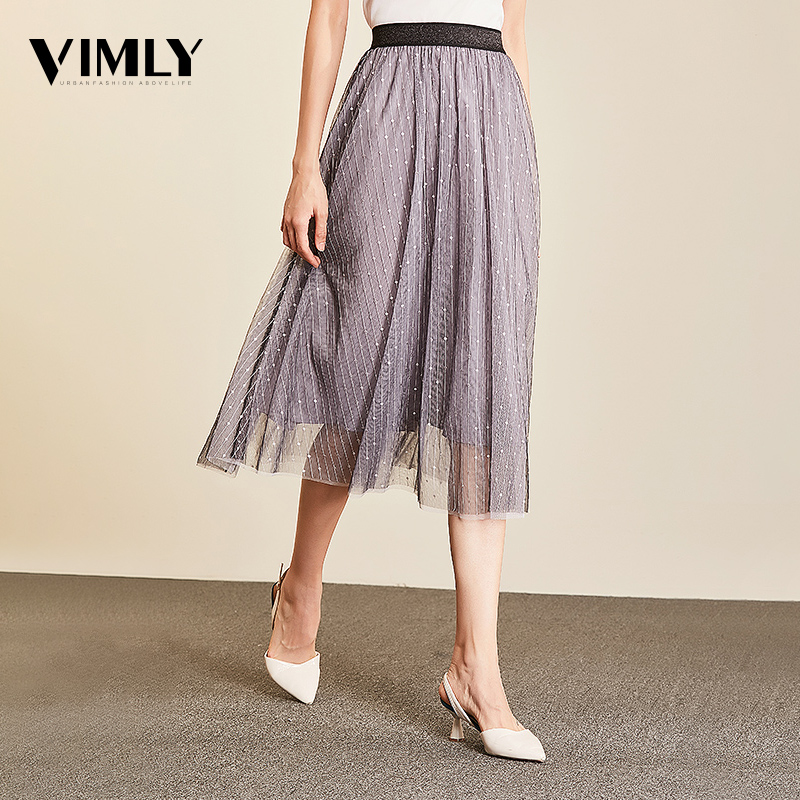 Vimly Women Mesh Midi Skirts Office Ladies Elastic Waist Elegant Black Pink Skirt Korean Tutu Skirt